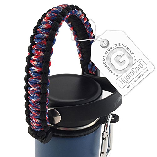 Paracord Handle for Hydro Flasks, Best Rated Holder in Hydro Flask and Nalgene Water Bottle Accessories, Worry-free HydroCord Strap w/Safety Ring Prevents Dropping Your Bottle (RWB)