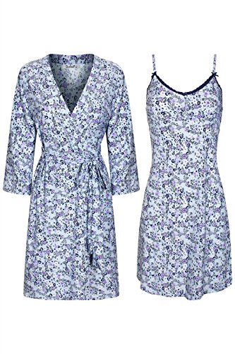SofiePJ Women's Printed Sleepwear Chemise and Robe 2PC Set Ceil Blue Navy L -