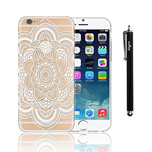 AiGoo Cases for iPhone 6 Plus 5.5inch,Classical Relief Crafts Disc White Retro/Vintage Henna Full Mandala Paisley Dream Catcher Flower/ Floral Pattern Ultra Slim Durable Clear/Transperant Hard Cover Case For Apple iPhone 6 Plus