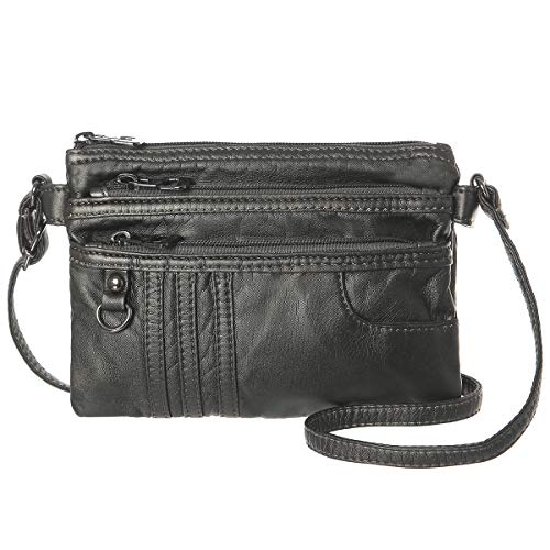 Women Treble Pockets Small Crossbody Bag Soft Synthetic Leather Cell Phone Purse Wallet (Gray Silver)