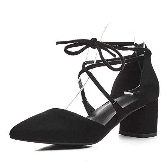 056930fa557a9 Amazon.com: Claystyle Women's Block Heel Summer Lace-Up Pointed ...