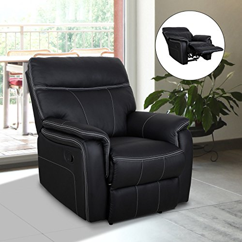 Single Recliner Sofa   Best Pu Leather   Padded Armrest Chair   Living Room Lounge   Black