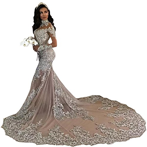 Wdress Mermaid Wedding Dresses High Neck Beaded Tulle for sale  Delivered anywhere in USA