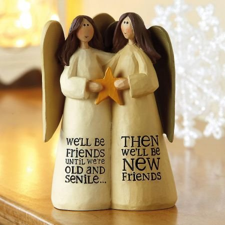 Friend Statue - Current We'll Be Friends Angels Resin Figurine - 5-1/4