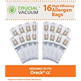 16 High Efficiency Paper Vacuum Bags for Oreck Type CC & XL Vacuums; Compare to Oreck Part Nos. CCPK8, CCPK8DW; Designed & Engineered by Think Crucial
