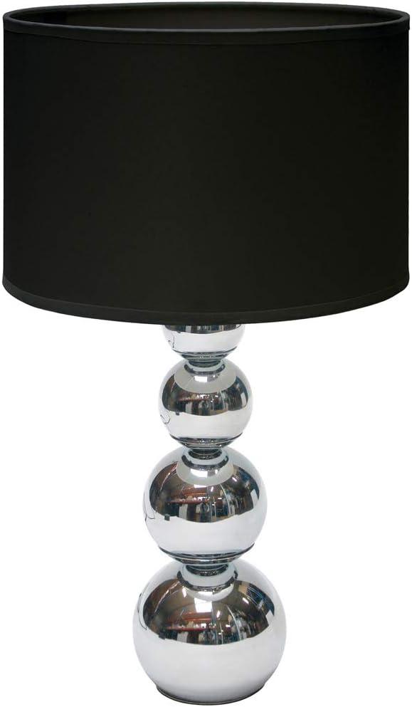 Lampe de table moderne Mandy Abat jour en tissu noir avec fonction Touch Intensité variable – avec ampoule incluse