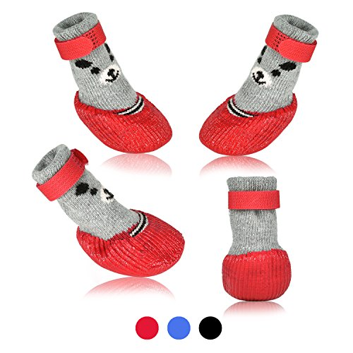 Dog Small Socks - SMARTHING Dog Cat Boots Shoes Socks with Adjustable Waterproof Breathable and Anti-Slip Sole All Weather Protect Paws(Only for Tiny Dog) (M, Red)