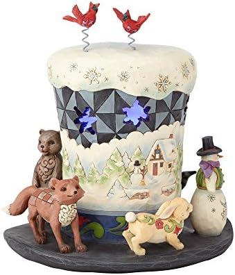 Enesco Jim Shore Heartwood Creek Lighted Snowman Top Hat Figurine