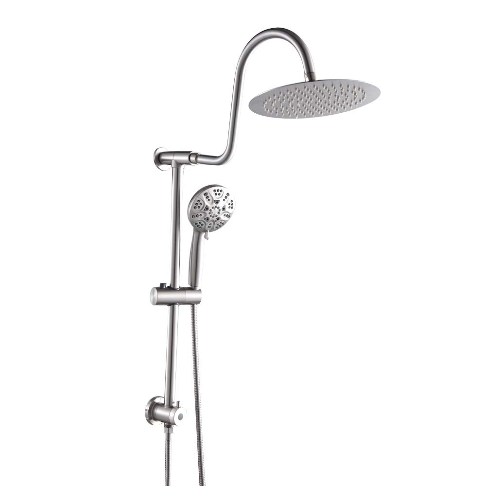 GhomeG Double Rain Spa Bathroom Combo-Fit Rain Shower System,Stainless Steel 10 Inch Shower Head,6-setting Hand Shower with Drill-Free Adjustable Slide Bar and Hose,Brushed Nickel
