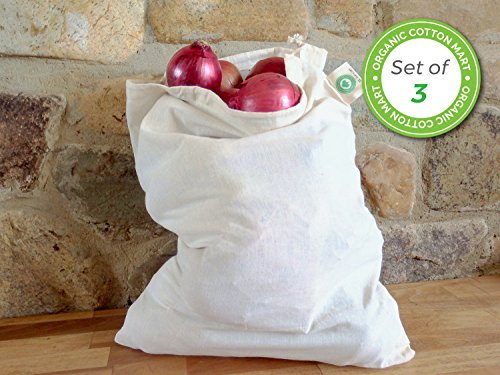 Reusable Bulk Food Storage Bags - Root Vegetable Storage Bags - Grain bags Linen - Potato Storage Bags - Muslin Organic Cotton Reusable Bags - Washable - Set of 3 (3, X-Large - 14''x18'') by Organic Cotton Mart