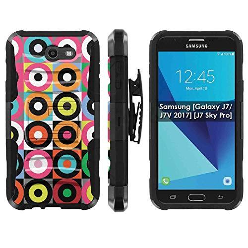 TalkingCase Phone Case for SamsungGalaxy (J7 2017) (J727),Perx,Sky Pro,J7V (2017),Halo-Cricket,Prime,Black Premium Dual Layer Armor Case,Color Bullseye Circles Print, Design in USA