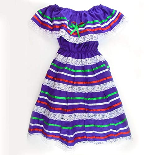 Mexican Child Dress Coco Theme Party Peasent Dress Hippie Dress (Purple)