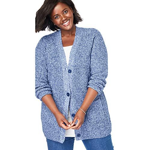 Woman Within Women's Plus Size Button Front Shaker Cardigan - Royal Navy White Marled, 18/20 (Sweater Cardigan Marled)