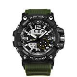 Ireloj Military Wrist Watch Large Dual Dial Analog Digital Quartz Watches Electronic Malfunction Dual Timezone Back Light Water Resistant-Army Green