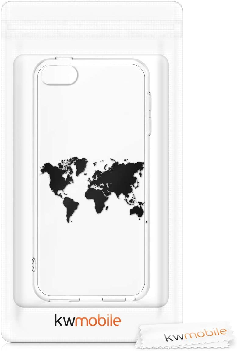 6. und 7.Generation Travel Black//Multicolor//Transparent - Crystal Clear Smartphone Back Case Protective Cover kwmobile TPU Silicone Case for Apple iPod Touch 6G // 7G
