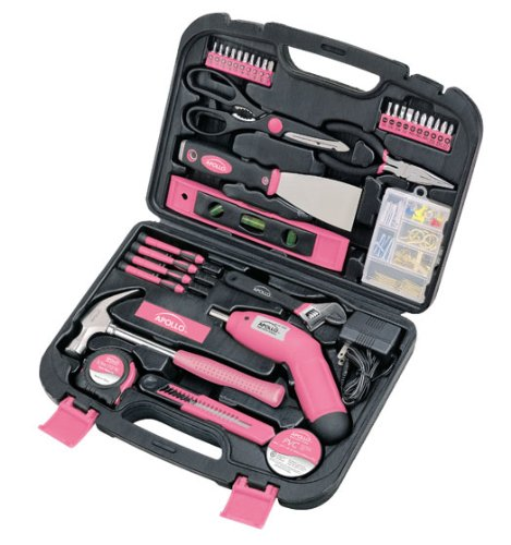 Apollo Tools DT0773N1 135 Piece Complete Household Tool Kit with 4.8 Volt Cordless Screwdriver and Most Useful Hand Tools and DIY accessories Pink Ribbon