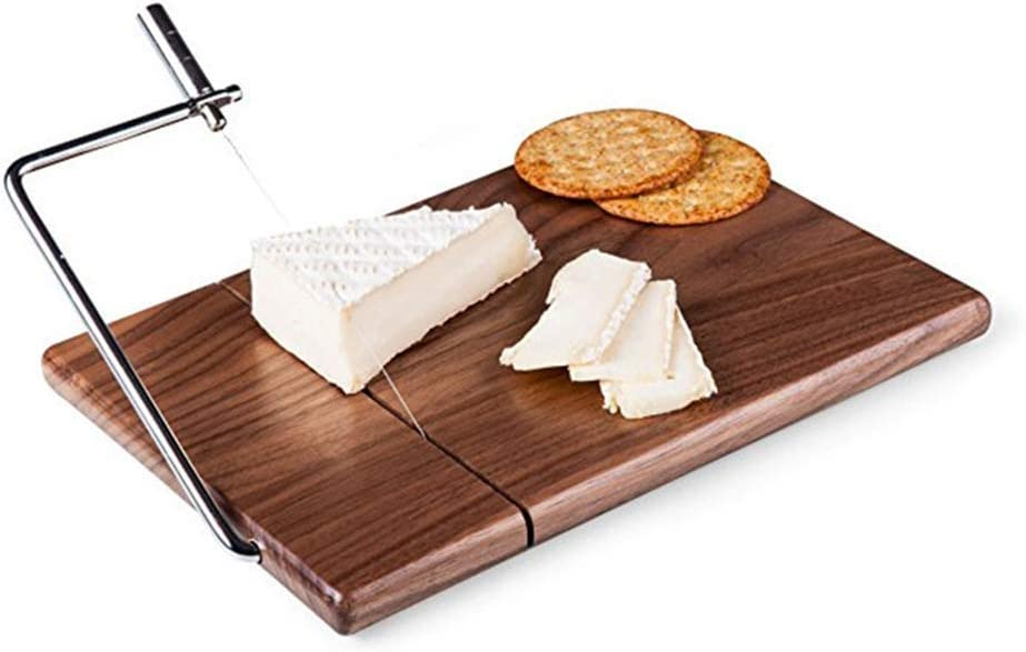 FantasyDay Cheese Slicer, Walnut Wood Cheese Cutter with Durable Wire Cutting Board, Cheese Butter Dessert Food Slicer with 1 Replaceable Wires - Handmade Craft Kitchen Cooking Serving Baking Tool
