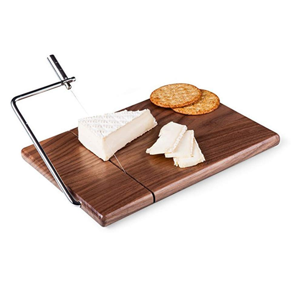 Joyeee Black Walnut Cheese Slicer with Wire Cutter for Hard and Semi Hard Cheese - Vegetable Slicer - Wire Cheese Slicer for Cheese Butter Hams - Butter Cutting Serving Board/Tray by Joyeee