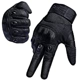 FREETOO Tactical Gloves Military Rubber Hard Knuckle Outdoor Gloves (Black Full Finger, L:9