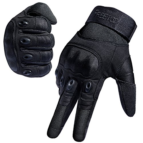 FREETOO Tactical Gloves Military Rubber Hard Knuckle Outdoor Gloves (Black Full Finger, XL:9.2