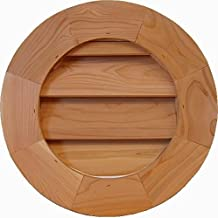 "GCR10 Round Cedar Wood Gable Vent ~ Louver box 9.5 x 9.5 ~ Overall 13.5"" x 13.5"" ~ Kimball Designs Sanded Smooth Functional Ventilation"