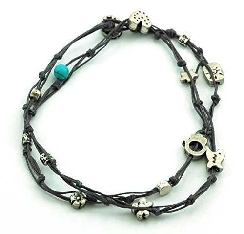 Handmade Denim Blue & Silver Double Wrap Anklet for Good Luck - 10.5'' by MIZZE Made for Luck (Image #2)