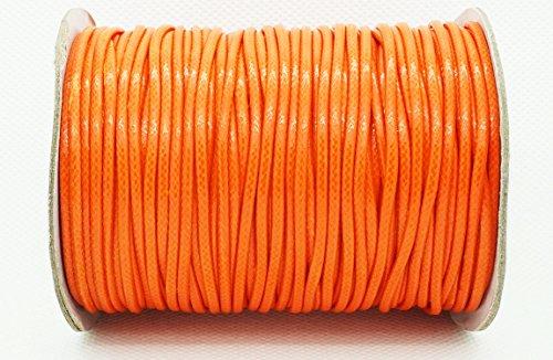 ORANGE 2mm Faux Imitation Leather Polyester Braided Cord Macrame Bracelet Thread Artisan String (100yards Spool)