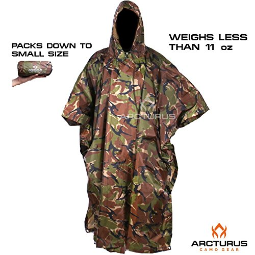 Arcturus Rain Poncho: Lightweight Ripstop Nylon Poncho with Adjustable Hood. Multipurpose, Large, Waterproof Design - Makes a Great Tarp, Backpacking Ground Cloth & Emergency Shelter (Camo)