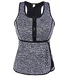 ANGOOL Women Sauna Sweat Vest Neoprene Waist Trainer Workout Slimming Vest for Weight Loss with Adjustable Waist Trimmer Belt
