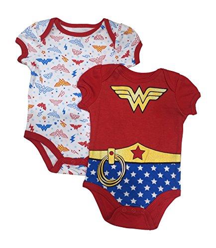 2 Pack Bodysuit Set (Wonder Woman Dc Comics Baby Girls 2 Pack Bodysuit Set 0-9 Months (0/3 Months))