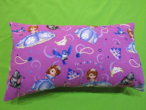 "Princess Sofia PILLOWCASE with pillow, Size 13""x 18"", throw pillow, neck or travel , bed , sofa, stroller, Toddlers. Kids, Girl, Hypoallergenic , washable. Ready to use."