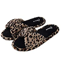 ECCRIS Comfy Toweling Flat Womens Slip On Slippers for Indoor House Hotel Travelling,Leopard Pattern