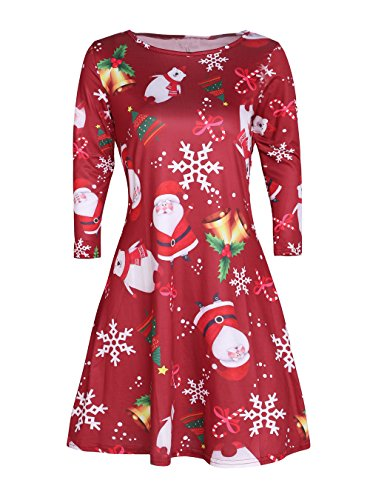 HIKARE Women's Plus Size Long Sleeve Christmas Santa Printed Fit and Flare Xmas Party Swing - Xmas Clothes Party