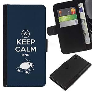 Stuss Case / Funda Carcasa PU de Cuero - Mantener la calma y Zzz - Sony Xperia Z2 D6502