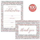 Celebrate All Occasion Invitations ( 100 ) & Matching Thank You Cards ( 100 ) Set with Envelopes Office Birthday Graduation Large Party Fill-in Invites & Folded Thank You Cards Best Value Combination