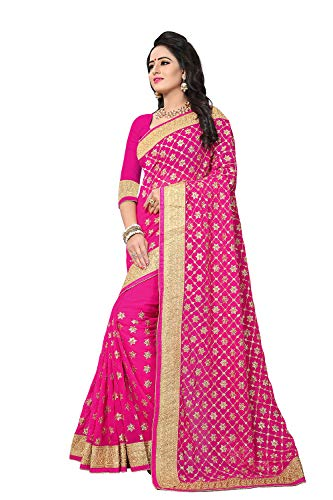 Women Wear Sari Sarees Traditional Indian Party For Designer Pink W9E2DHI