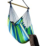 Image of EverKing Large Brazilian Hammock Chair - Extra Long Bed Hanging Rope Hammock Net Chair Porch Swing Seat for Yard, Bedroom, Porch, Beach, Patio, Indoor, Outdoor (Blue Stripe)