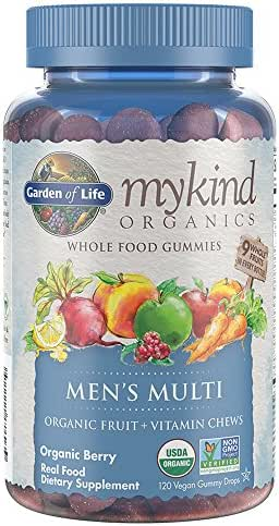 Garden of Life - mykind Organics Men's Gummy Vitamins - Berry - Certified Organic, Non-GMO, Vegan, Kosher Complete Multi - Methyl B12, C & D3 - Gluten, Soy & Dairy Free - 120 Real Fruit Chew Gummies