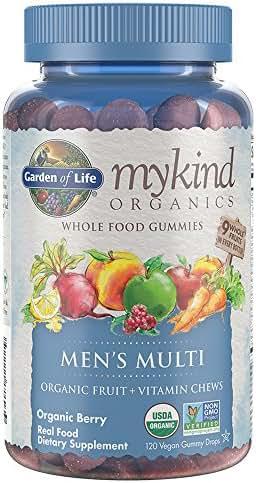 Garden of Life - mykind Organics Men's Gummy Vitamins - Berry - Certified Organic, Non-GMO, Vegan, Kosher Complete Multi - Methyl B12, C & D3 - Gluten, Soy & Dairy Free - 120 Real Fruit Chew Gummies
