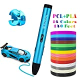 Sunfuny 3D Pen, Three Modes 3D Printing Doodler Pen for PLA/ABS/PCL Refills,with 140 Feet PLA Filament Refills, Low and High Temperature, 3D Drawing Printer Pen for Kids Adult 3D Arts Crafts