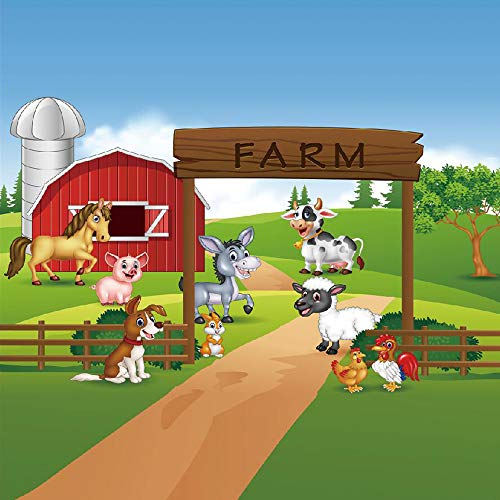 8x8ft Cartoon Farm Animals Party Backdrop Children Birthday Background for Photography Decorations Photobooth Banner Photo Studio Props XT-6525