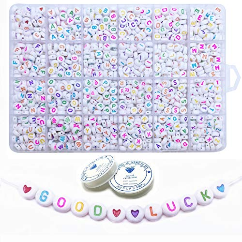Amaney 1500 Pieces 4×7mm White Round Acrylic Colorful Alphabet Letter Beads A-Z Heart and Number Beads and 2 Roll Crystal String for Jewelry Making Bracelets Necklaces Key Chains and Kids Jewelry