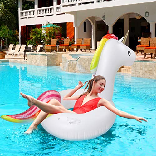 Keenstone Pool Floats Inflatable Unicorn Tube, Pool Float, Fun Beach Floaties, Swim Party Toys, Summer Pool Outdoor Pool Toys Float Raft Lounge for Adults & Kids (2) -