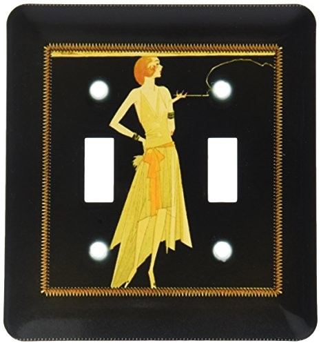 - 3dRose lsp_39590_2 Art Deco Lady On With Gold Frame Double Toggle Switch, Black