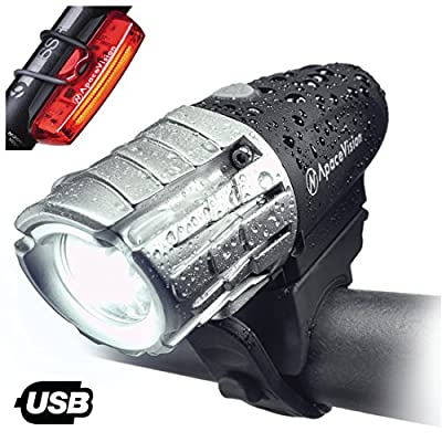 Eagle Eye USB Rechargeable Bike Light Set Apace - Powerful 300 Lumens LED Bicycle Headlight & Tail Light - Super Bright Front Light & Rear Light Cycling Safety