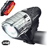 Eagle Eye USB Rechargeable Bike Light Set by Apace – Powerful 300 Lumens LED Bicycle Headlight & Tail Light – Super Bright Front Light & Rear Light for Cycling Safety (Black-Silver, Premium Gift Box) For Sale