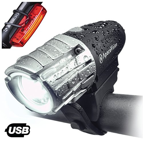 Eagle Eye USB Rechargeable Bike Light Set Apace – Powerful 300 Lumens LED Bicycle Headlight Tail Light – Super Bright Front Light Rear Light Cycling Safety