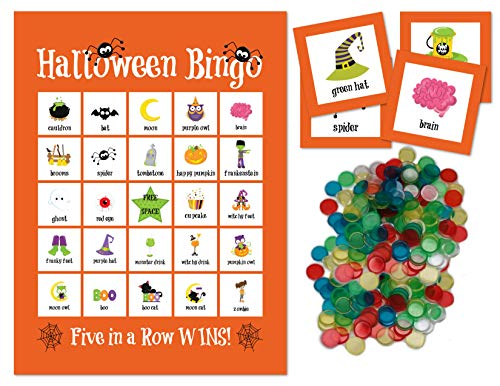 Halloween Bingo Game Cards (Halloween Bingo Game for Kids Halloween Party Game with Calling Cards and 300 Plastic Bingo Chips for 24)