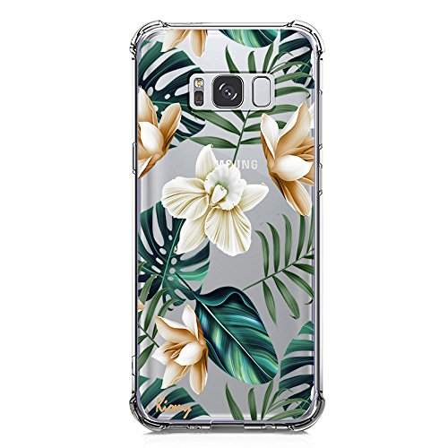 Galaxy S8 Case, Ultra Crystal Clear Case with Design Tropical Palm Tree Leaves Floral Pattern Print Anti Scratch Bumper Protective Case for Samsung Galaxy S8 Flexible Soft Gel Silicone Flowers Cover (Gel Case Pattern)