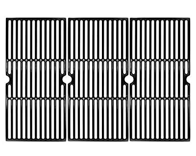 Hongso 19 1/16 Inch Porcelain Coated Cast Iron Cooking Grate Grid Grill Replacement for Brinkmann 810-1750-S, 810-1751-S, 810-3551-0 Gas Grill Models, BBQ Grill Grates, Set of 3 (PCB006)